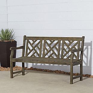 Vifah Renaissance Outdoor 5ft Hand-scraped Wood Garden Bench, , rollover