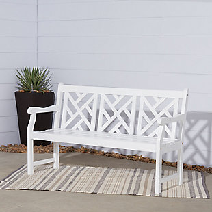 Vifah Bradley Outdoor 5ft Wood Garden Bench, , large