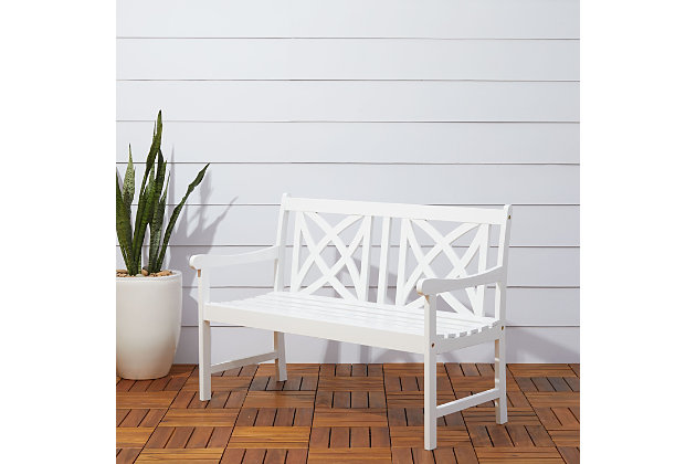 Vifah Bradley Outdoor 4ft Wood Garden Bench, , large