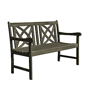 Vifah Renaissance Outdoor 4ft Hand-scraped Wood Garden Bench, , large