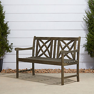 Vifah Renaissance Outdoor 4ft Hand-scraped Wood Garden Bench, , rollover