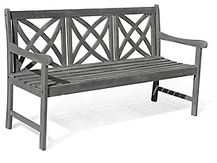 Vifah Renaissance Outdoor 5ft Hand-scraped Wood Garden Bench, , large