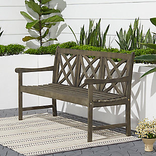 Vifah Renaissance Outdoor 5ft Hand-scraped Wood Garden Bench, , rollover