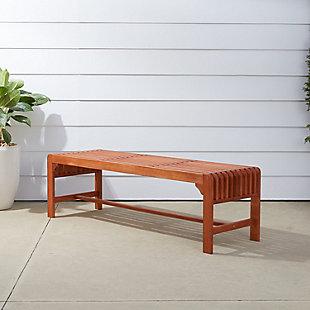 Vifah Malibu Outdoor 5ft Wood Backless Garden Bench, , rollover