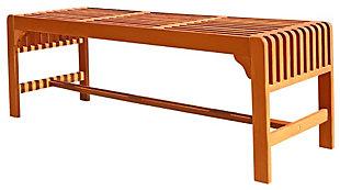 Vifah Malibu Outdoor 5ft Wood Backless Garden Bench, , large
