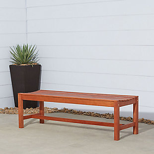 Vifah Malibu Outdoor 5ft Wood Backless Garden Bench, , rollover