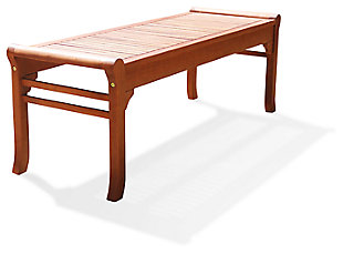 Vifah Malibu Outdoor 4ft Wood Backless Garden Bench, , large