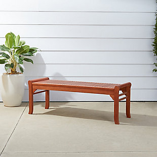 Vifah Malibu Outdoor 4ft Wood Backless Garden Bench, , rollover