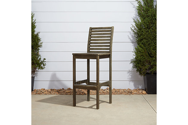 Vifah Renaissance Outdoor Hand-scraped Wood Bar Chair, , large