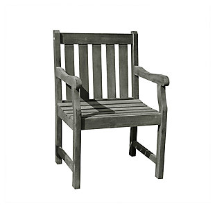 Vifah Renaissance Outdoor Hand-scraped Wood Garden Armchair, , large