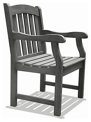 Vifah Renaissance Outdoor Hand-scraped Wood Garden Armchair, , rollover
