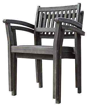 Vifah Renaissance Hand-scraped Wood Stacking Armchair (Set of 2), , large