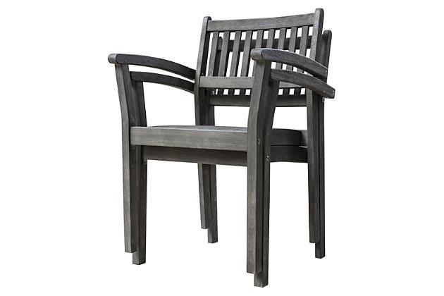 Vifah Renaissance Hand-scraped Wood Stacking Armchair (Set of 2), , large