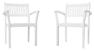 Vifah Bradley Outdoor Wood Garden Stacking Armchair (Set of 2), , large