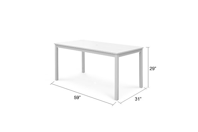 Vifah Bradley Outdoor Rectangular Patio Dining Table, , large