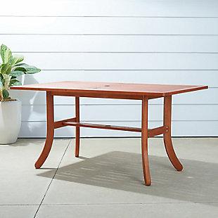 Vifah Malibu Outdoor Rectangular Dining Table with Curvy Legs, , rollover