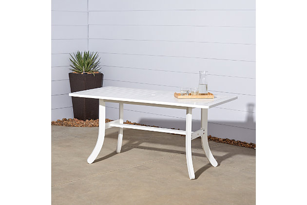 Vifah Bradley Outdoor Rectangular Dining Table with Curvy Legs, , large