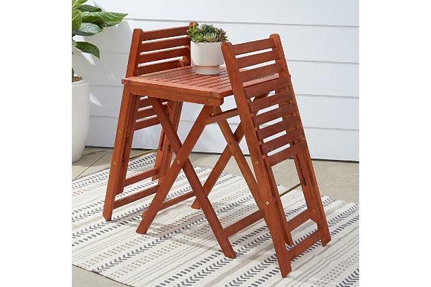 Vifah Malibu Outdoor 3-Piece Wood Bistro Set, , large