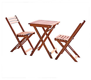 Vifah Malibu Outdoor 3-Piece Wood Bistro Set, , large