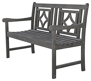 Vifah Renaissance Outdoor Diamond 4ft Hand-scraped Hardwood Bench, , large