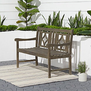 Vifah Renaissance Outdoor Diamond 4ft Hand-scraped Hardwood Bench, , rollover