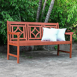 Vifah Malibu Outdoor Diamond 5ft Eucalyptus Hardwood Bench, , rollover