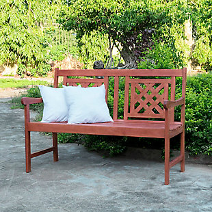 Vifah Malibu Outdoor Plaid 4ft Eucalyptus Hardwood Bench, , rollover