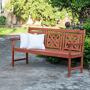Vifah Malibu Outdoor Plaid 5ft Eucalyptus Hardwood Bench, , rollover