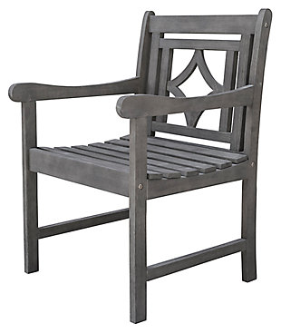 Vifah Renaissance Outdoor Diamond Hand-scraped Hardwood Armchair, , large