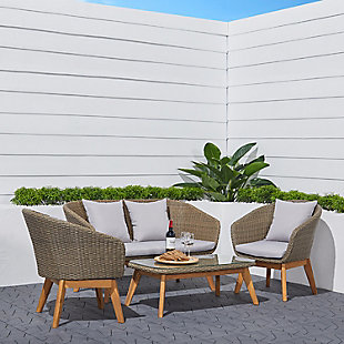 Vifah Grayton 4-Piece All-Weather Patio Wood and Wicker Set, , rollover