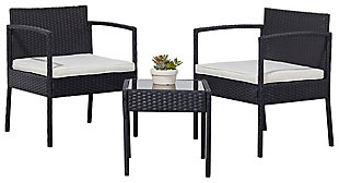 Vifah Tierra 3-Piece Outdoor Wicker Coffee Lounger Set with Cushion, , large