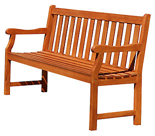 Vifah Malibu Outdoor 5ft Wood Garden Bench, , large