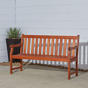 Vifah Malibu Outdoor 5ft Wood Garden Bench, , rollover