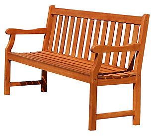 Vifah Malibu Outdoor 5ft Wood Garden Bench, , large