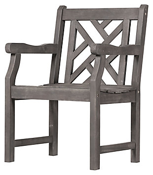Vifah Renaissance Outdoor Hand-scraped Wood Garden Armchair, , large