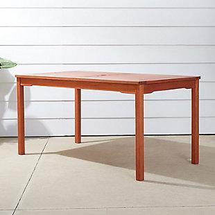 Vifah Malibu Outdoor Rectangular Patio Dining Table, , large