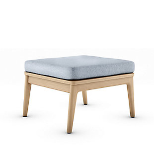 Amazonia Teak Ottoman with Gray Cushion, , large