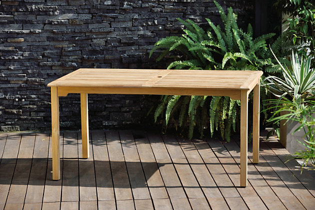 Amazonia Teak Finish Rectangular Dining Table, , large