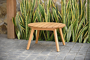 Amazonia Teak Finish Round Side Table, , large