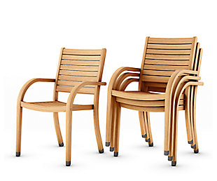 Amazonia Teak Finish Armchairs (Set of 4), , rollover