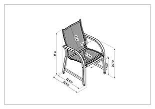 Amazonia Teak Finish and Sling Armchairs (Set of 4), , large