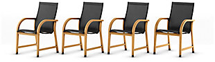 Amazonia Teak Finish and Sling Armchairs (Set of 4), , large