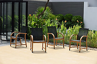 Amazonia Teak Finish and Sling Armchairs (Set of 4), , rollover