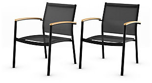 Amazonia Teak Finish and Aluminum Armchairs (Set of 2), , large
