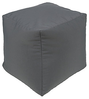 Solid Essien 18 x 18 x 18 Pouf, Gray, large