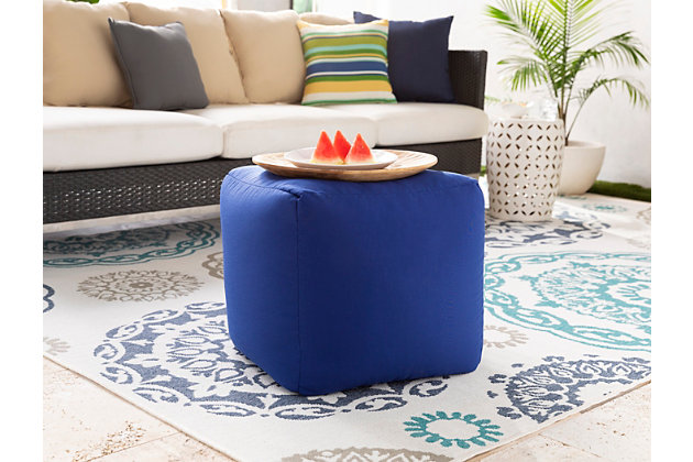 Solid Essien 18 x 18 x 18 Pouf, Blue, large