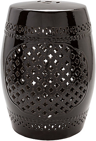 Ceramic Auburndale 12.8 x 12.8 x 18.1 Stool, Black, large