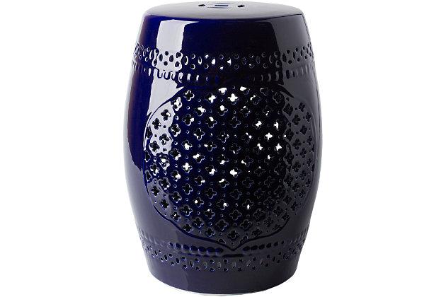 Ceramic Auburndale 12.8 x 12.8 x 18.1 Stool, Navy, large