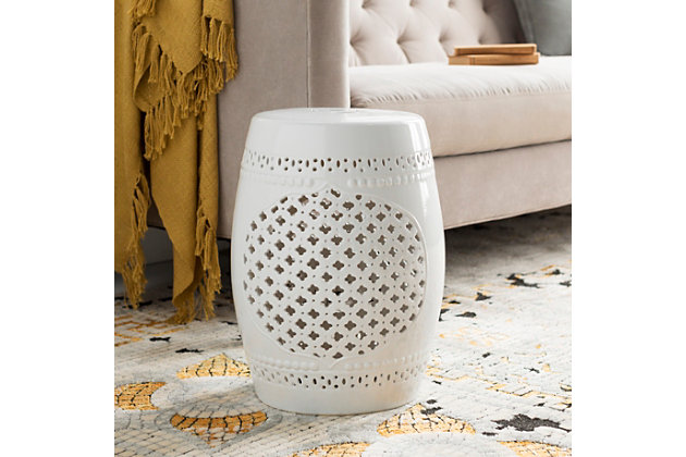 Ceramic Auburndale 12.8 x 12.8 x 18.1 Stool, White, large