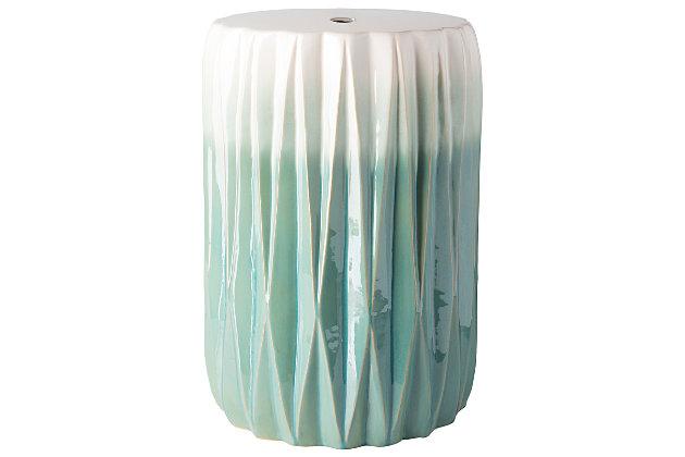 Ceramic Aynor 12.25 x 12.25 x 17.25 Garden Stool, Aqua/White, large